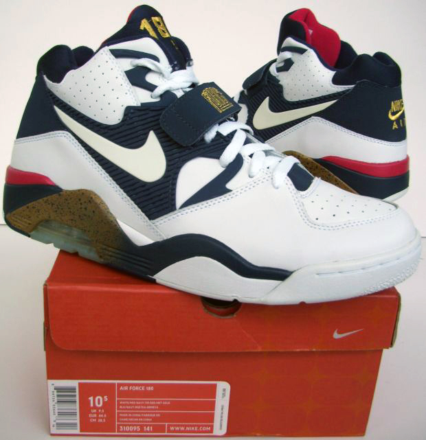 buy popular f3e74 a62e3 Nike Air Force 180 Olympic Barkleys (White/Mid Navy-Tm Red-Met Gold) 310095  141 SIze US 10.5