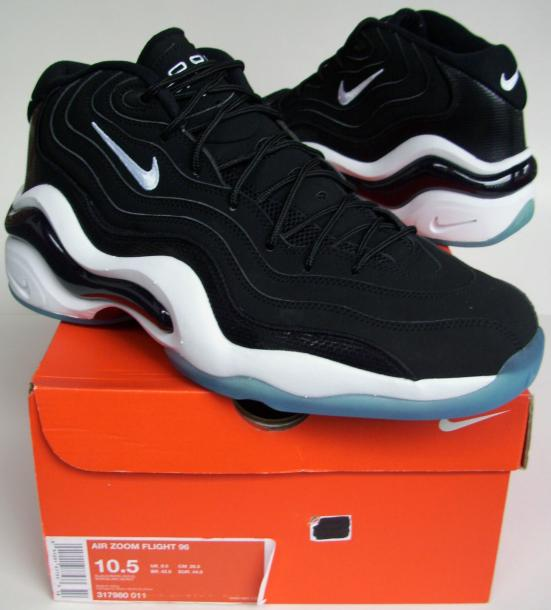 new product d1fe6 28658 Air Zoom Flight 96 (Black White-Icy blue) 317960 011 Size US 10.5